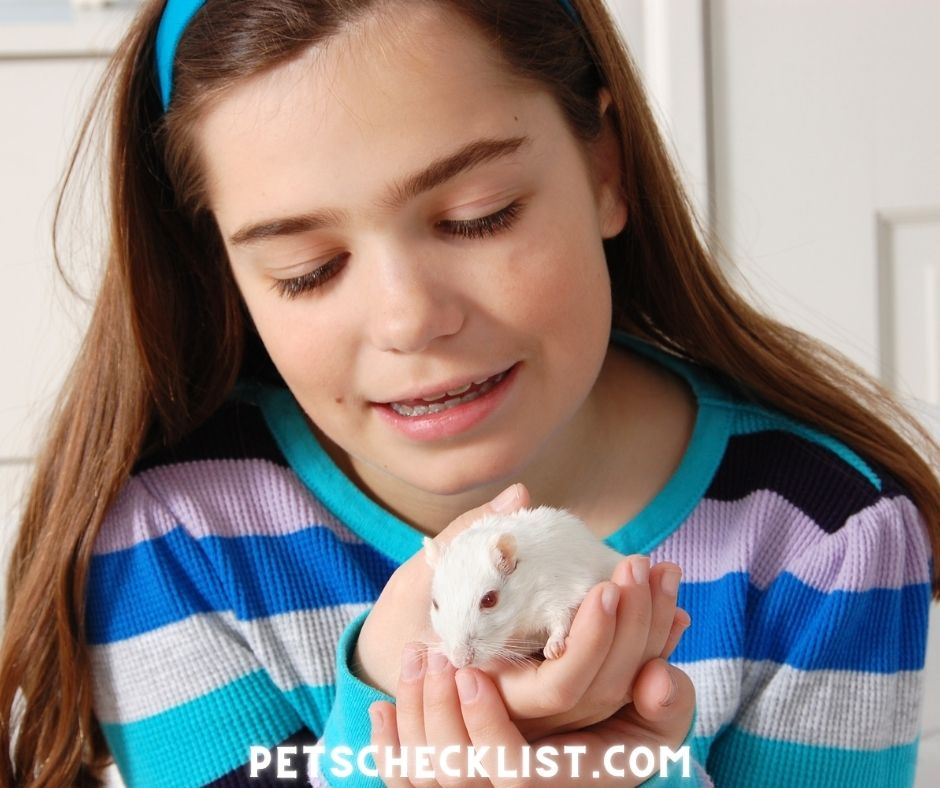 girl with white gerbil